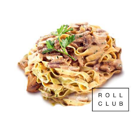 Тальятелле с говядиной и грибами в сливочном соусе