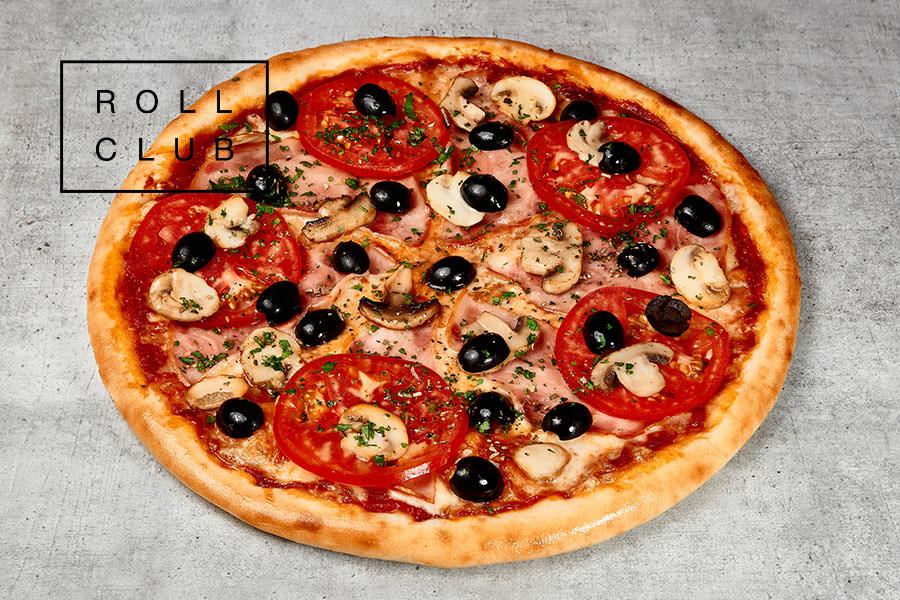 Пицца С ветчиной и грибами на дом