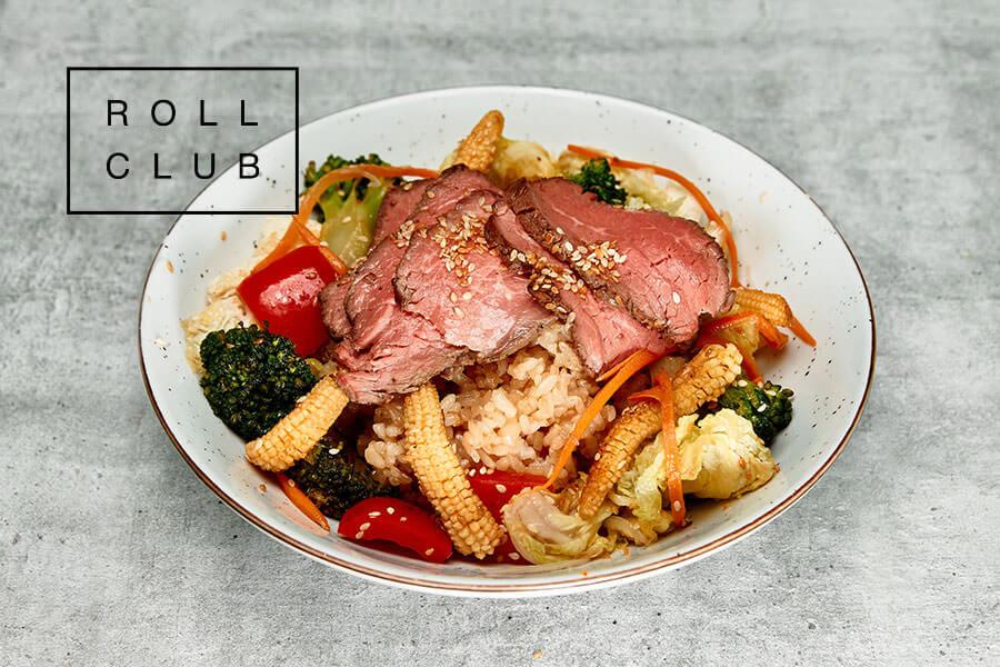 Рис с говядиной и соусом терияки от Roll Club
