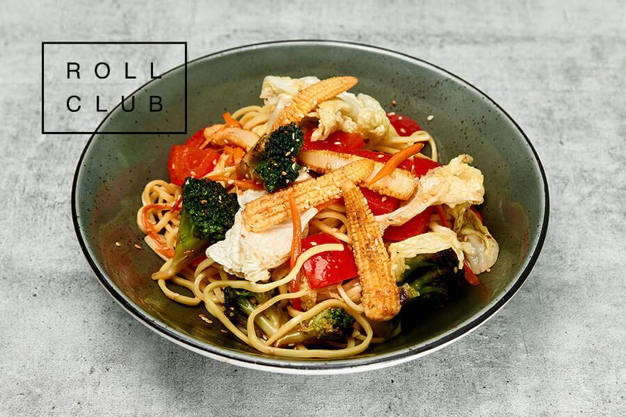 Яичная Лапша с овощами и соусом терияки заказать