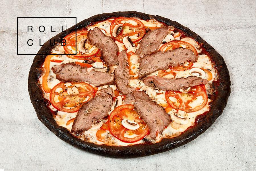 Пицца Чёрная  с говядиной на дом