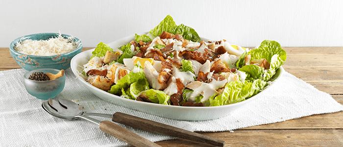 как приготовить салат цезарь с беконом